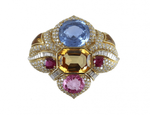18K BVLGARI DIAMOND & COLORED STONE BROOCH
