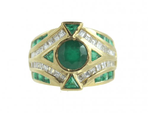 18K EMERALD & DIAMOND RING