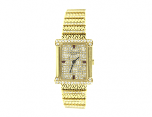 LADIES 18K PATEK PHILIPPE RUBY & DIAMOND WATCH