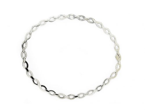 CARTIER DIADEA DIAMOND AND WHITE GOLD OVAL LINK NECKLACE