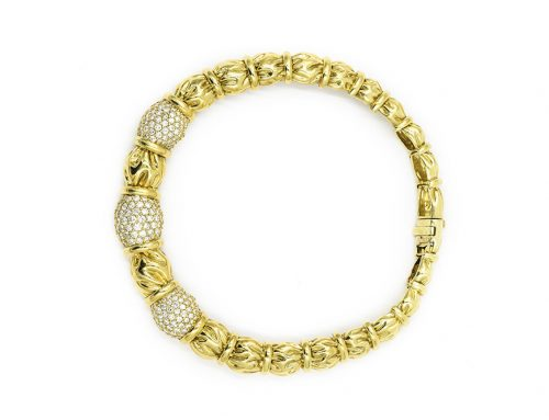 CONTEMPORARY DIAMOND ENCRUSTED SECTIONS IN YELLOW GOLD NECKLACE BY JOSE HESS