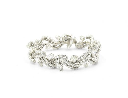 1950'S WHITE GOLD AND DIAMOND BRACELET